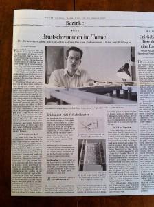 Brustschwimmen im Tunnel (Berliner Zeitung)